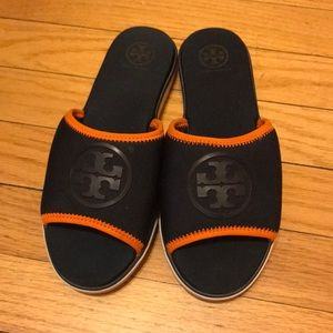 Tory Burch Blue Neoprene Logo Slide
